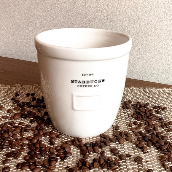 2002 large Starbucks Crock Utensil Holder